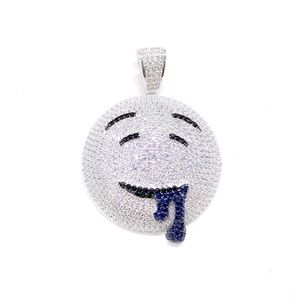 Silver DROOLING EMOJI FACE PENDANT + FREE CHAIN